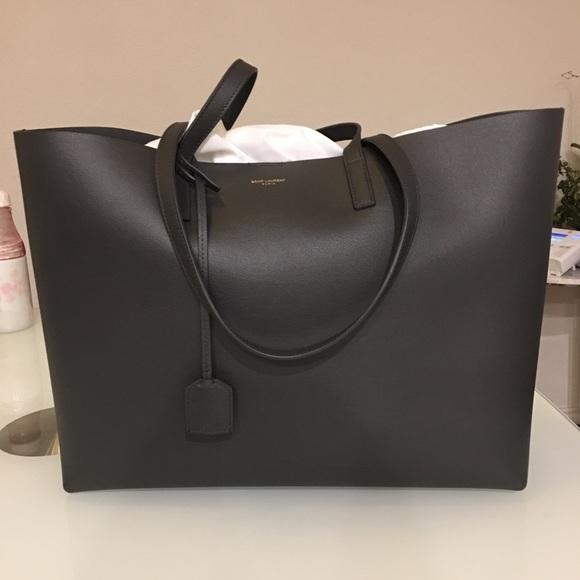 85b83b85af Saint Laurent Ysl Monogram Shopping Tote Dark Grey
